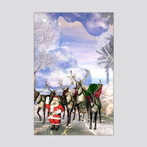 Santa Claus with reindeer in the winter landscape