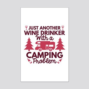 Wine Drinker Camping Mini Poster Print