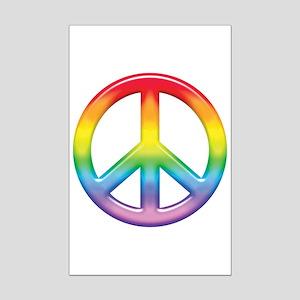Gay Pride Rainbow Peace Symbol Mini Poster Print