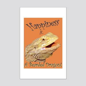 Happiness is a Bearded Dragon. Mini Poster Print