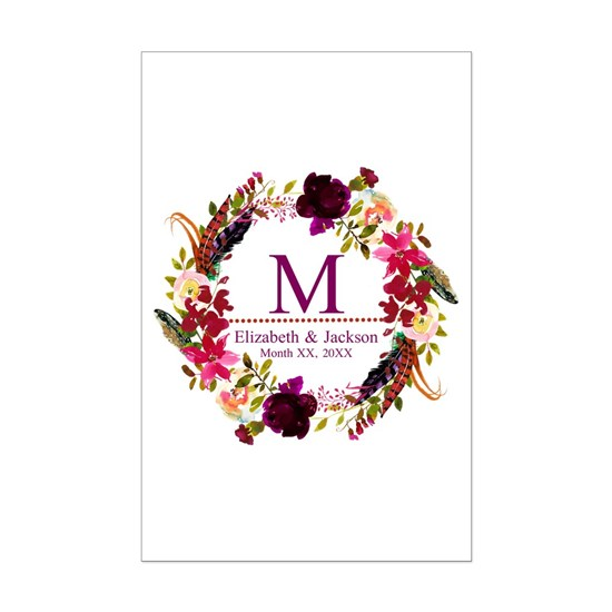Boho Wreath Wedding Monogram