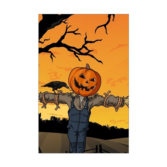 Halloween Scarecrow With Pumpkin Head Poster Print by ...