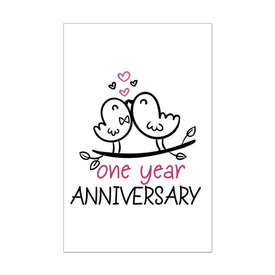 c96bdbb2e9 ... Mini Poster Print. 1st Anniversary Cute Couple Doodle Birds
