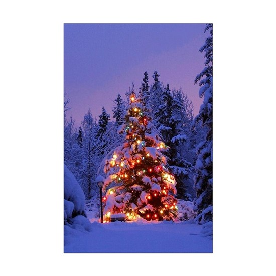 Christmas Tree With Lights Poster Print Mini