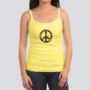 Hippie Flowery Peace Sign Jr. Spaghetti Tank