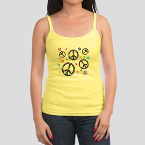 Peace symbols and flowers pat Jr. Spaghetti Tank