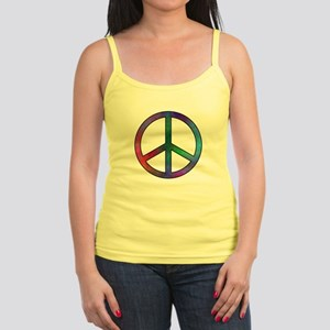 Multicolor Peace Sign Jr. Spaghetti Tank
