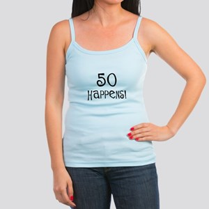 50th birthday gifts 50 happens Jr. Spaghetti Tank