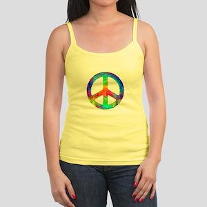 Multicolored Peace Sign Jr. Spaghetti Tank