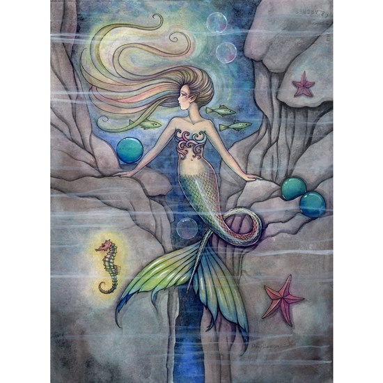 What Lies Beneath Mermaid and Seahorse Art