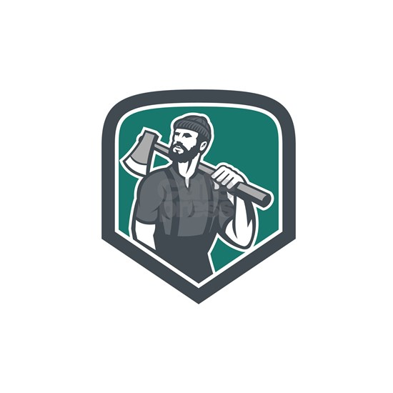 Lumberjack Holding Axe Shield Retro