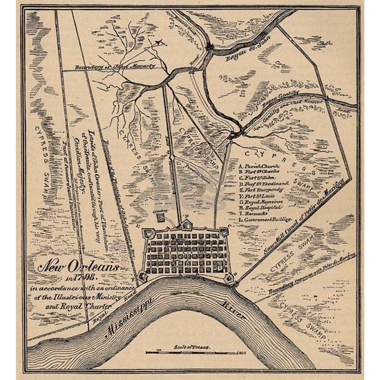 Vintage Map of New Orleans Louisiana (1798)
