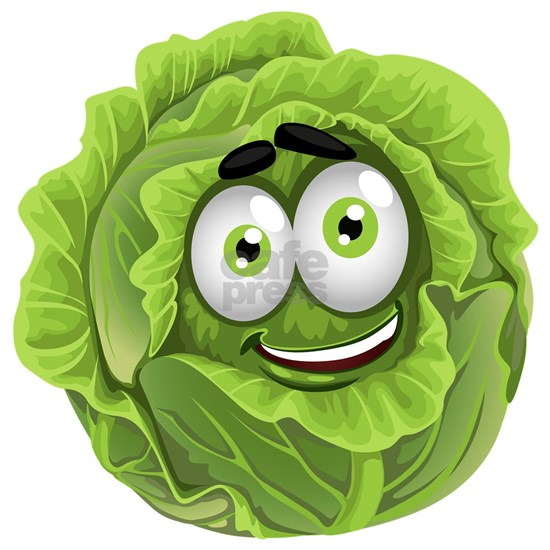 Vegetable cartoon smiley green cabbage