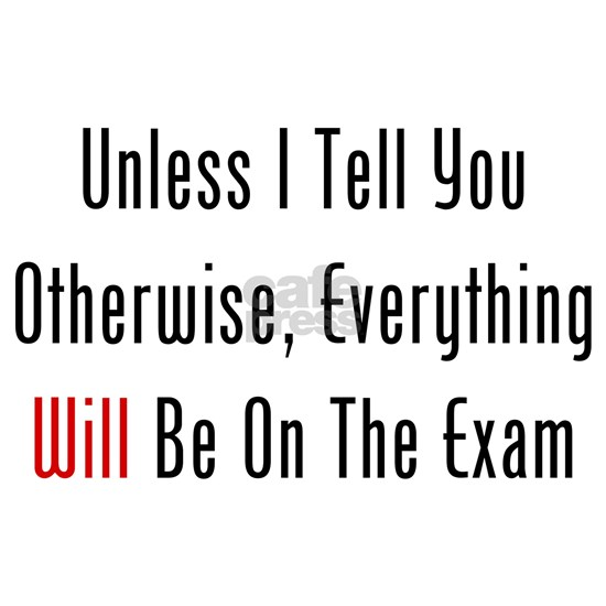 Unless I Tell You, Everything WILL Be On The Exam