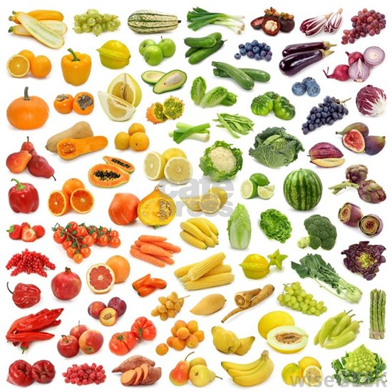 Various Fruits and Vegetables Rainbow