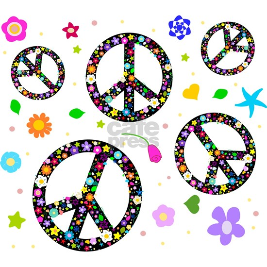 Peace signs and flowers pattern
