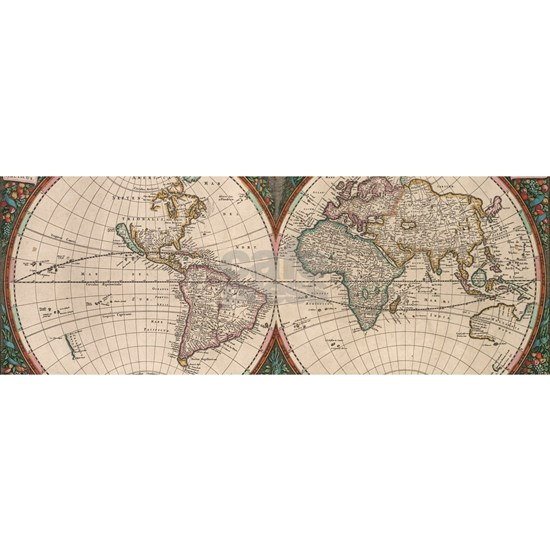 Vintage World Map (1665) 2