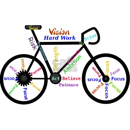 Bike made up of words to motivate