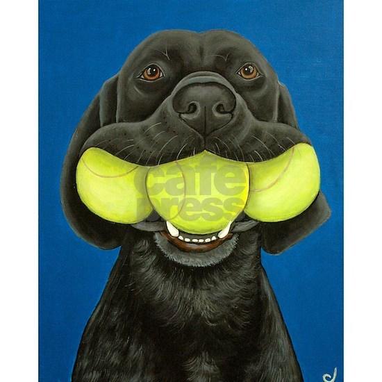 Black Lab with 3 tennis balls