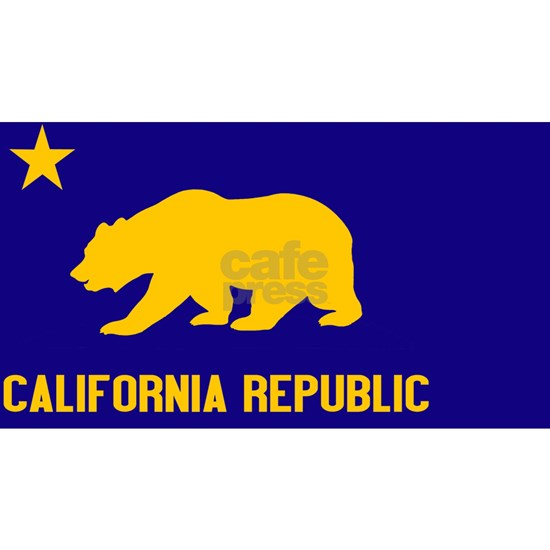 California Blue Yellow Bear oval Sticker