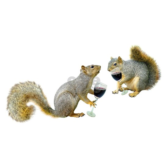 Squirrels Drinking Wine