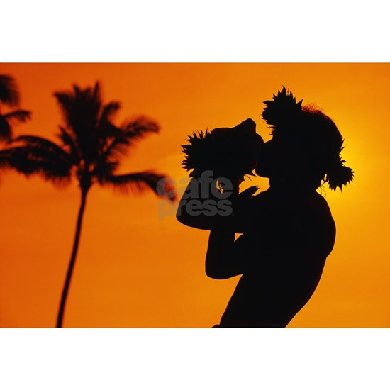 Hawaii, Maui, Napili, Silhouette Of Man Blowing At