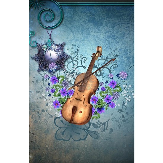 Wonderful violin with violin bow and flowers