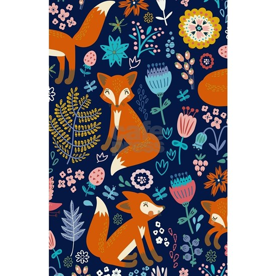 Cute Red Foxes & Colorful Retro Flowers Pattern