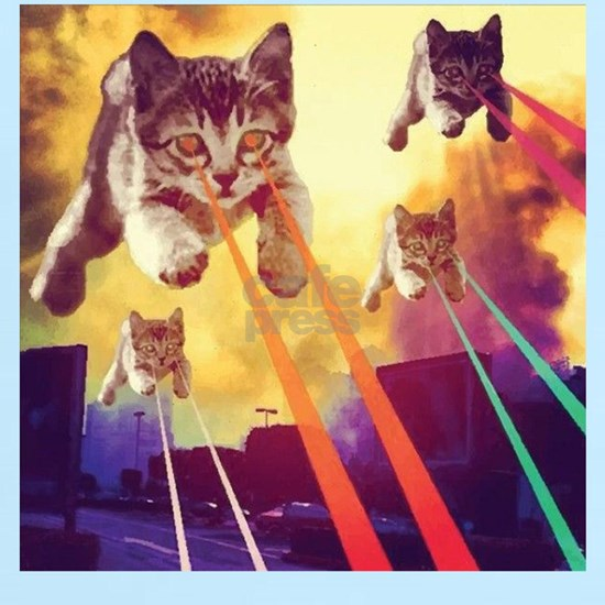 Laser Eyes Space Cats Flying T-Shirt