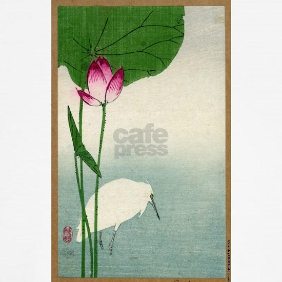 White Heron And Lotus - Baison - 1890 - woodcut