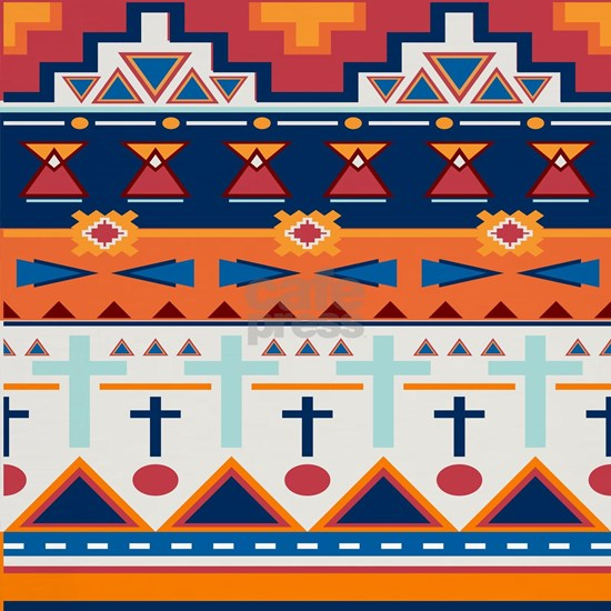 orange blue aztec print