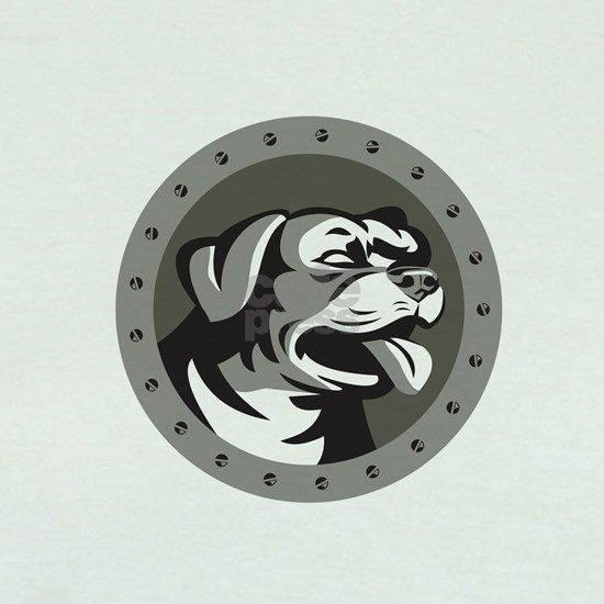 Rottweiler Guard Dog Head Metallic Circle Retro