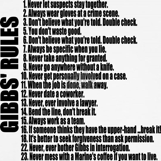 GIBBS RULES Black Text