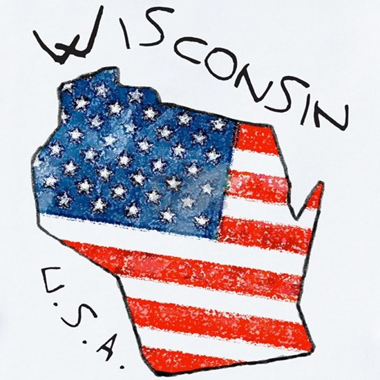 Grungy American flag inside Wisconsin State