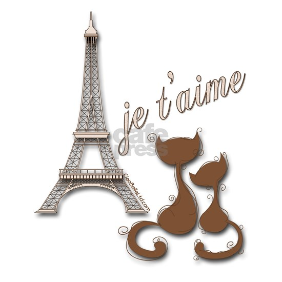 Chocolate Brown I Love Paris Eiffel Tower Cats