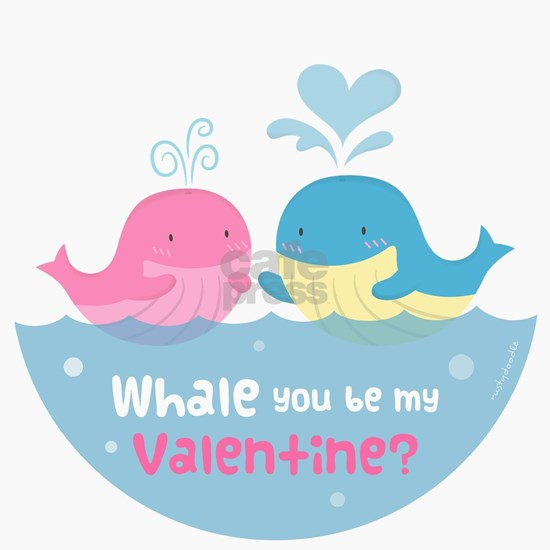 Cute Whale You Be My Valentine Pun