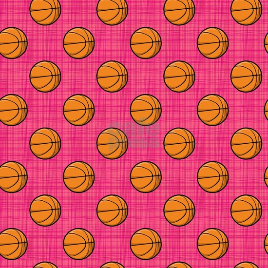 Bright Pink Basketball Pattern