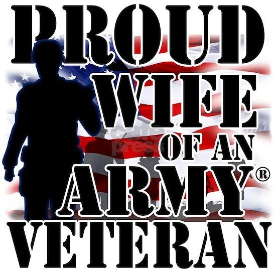 Proud Wife Of Army Veteran Patriotic US Flag