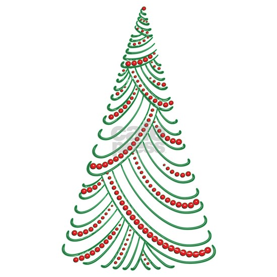 Green Porcelain Swirl  Drape Xmas Tree with Red B