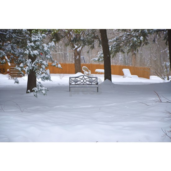 Garden bench with snow