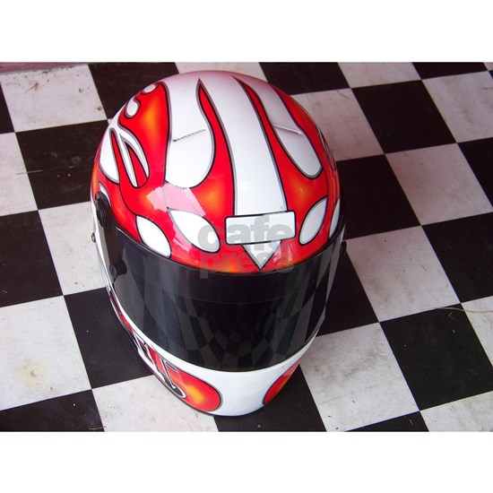 Race Helmet on Checkered Flag