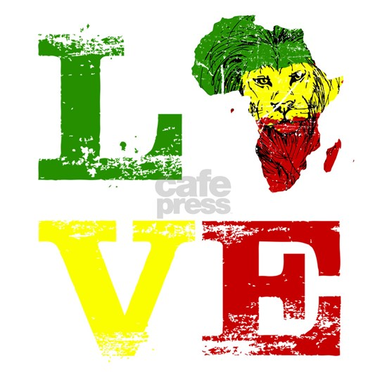 Love Africa Map print Rasta Reggae Lion Red Green