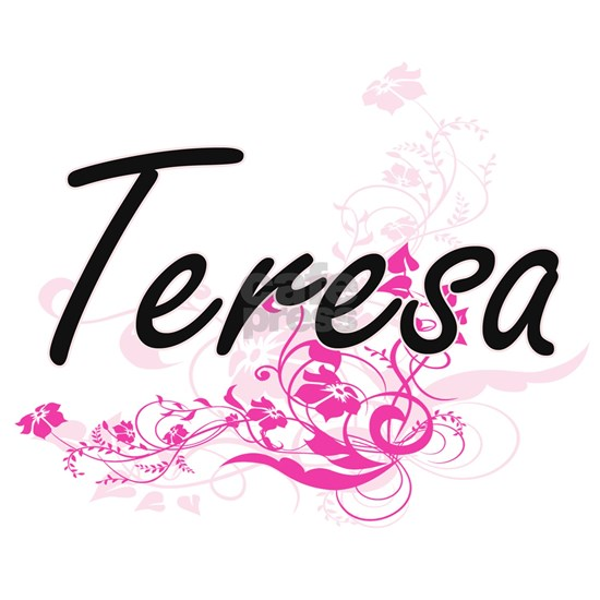 Teresa Artistic Name Design with Flowers Dog Tags