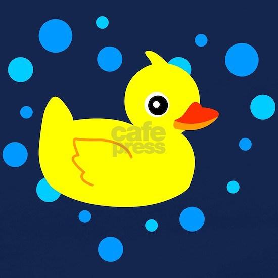 Cute Yellow Rubber Ducky on Water Heart