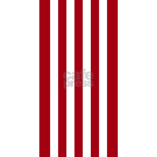 Brick Red and White Vertical Striped