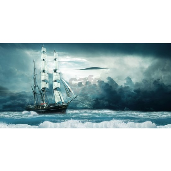 Blue Ocean Ship Storm Clouds