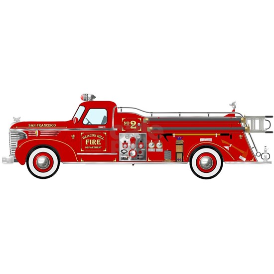 Vintage Red Fire Truck Drawing Ornament Round By Jen717 Cafepress