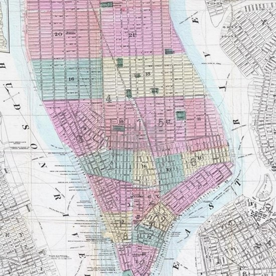 Vintage Map of Lower Manhattan (1865)