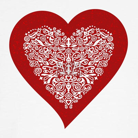 Red sparkling heart with detailed white ornament