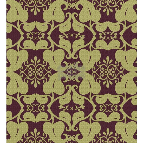 Ornate Floral Burgundy And Gold Pattern
